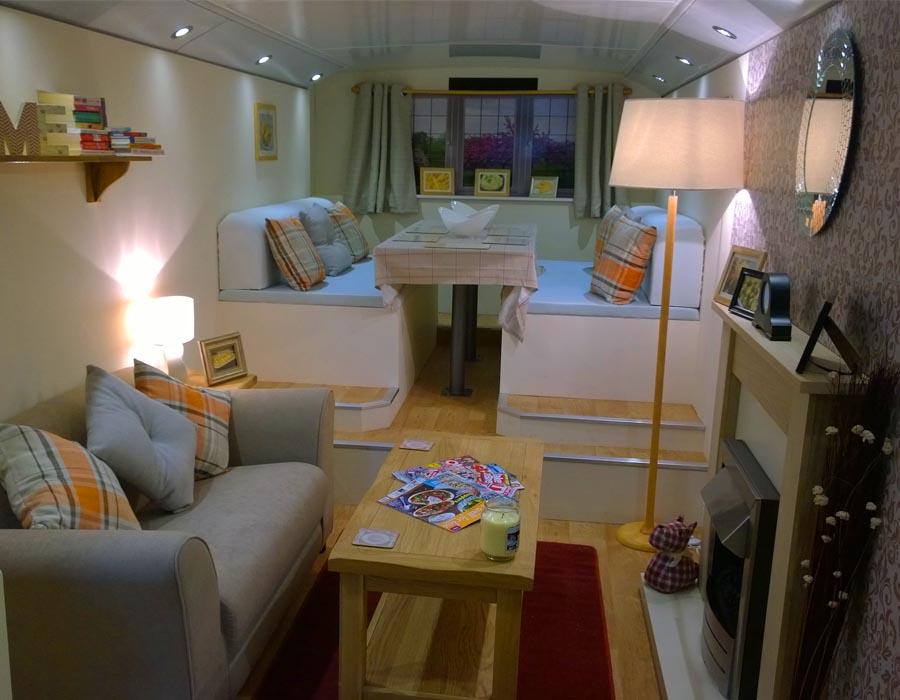 inside aunt bessies double decker bus